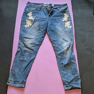 Lucky Brand Embroidered Skinny Blue Jeans 12/31